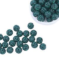 ARRICRAFT 100 Pcs 10mm Emerald Shamballa Pave Disco Ball Clay Beads, Polymer Clay Rhinestone Beads Round Charms Jewelry Makings