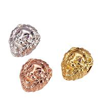 NBEADS 10 Pcs Random Mixed Color Lion Head Beads Micro Pave Cubic Zirconia Beads Bracelet Necklace Connector Charm Beads for Jewelry Making