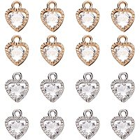 PandaHall Elite 100 pcs 2 Colors Heart Shape Cubic Zirconia Alloy Crystal Pendant Charms Sets for Necklace Jewelry DIY Craft Making, Golden/Silver