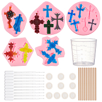 Olycraft DIY Pendant Making, with Silicone Molds, Plastic Measuring Cup & Pipettes, Latex Finger Cots and Wooden Craft Sticks, Mixed Color