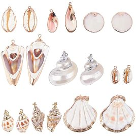 PH PandaHall 10 Style Natural Sea Shell Charms Pendant Beads 20pcs Gold Plated Pendant Charms for DIY Crafts Project Jewelry Findings Ocean Beach Spiral Sea Shells