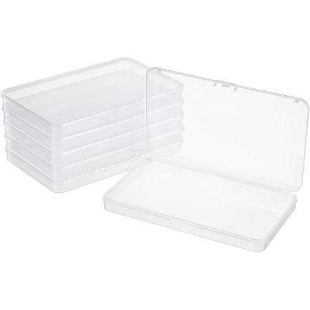 BENECREAT 6 Packs 7.5x4.5x0.6 Inch Large Clear Plastic Box Organizer Rectangle Storage Box for Extra Face Masks, Photos, Cards