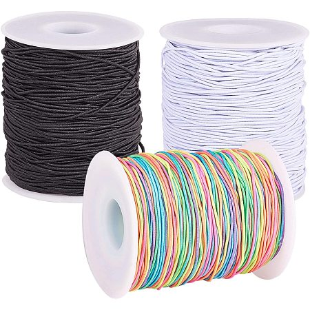 PandaHall Elite 327 Yards 3 Colors Elastic Cord, 1mm Thread Beading Threads Stretch String Fabric Crafting Cord for Bracelets Necklace Jewelry Making Sewing and Crafting (109 Yards Each Roll)
