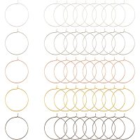 ARRICRAFT Brass Wine Glass Charm Rings, Hoop Earrings Findings, Mixed Color, 20 Gauge, 25x0.8mm; 6 colors, 30pcs/color, 180pcs/box
