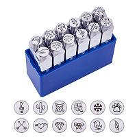 """BENECREAT 12 Pack (6mm 1/4"""") Design Stamps, Metal Punch Stamp Stamping Tool Case - Electroplated Hard Carbon Steel Tools to Stamp/Punch Metal, Jewelry, Leather, Wood"""