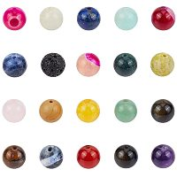 NBEADS 100g Random Mixed Natural Gemstone Beads, 15 Different Materials 8mm Round Loose Natural Amazonite Amethyst Jade Lava Spacer Beads with 1mm Hole for DIY Bracelet Necklace Jewelry Making