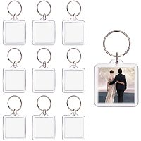 PandaHall Elite 30 Sets Acrylic Photo Snap in Keychain 44x40x6mm Square Custom Blank Photo Keyring DIY Picture Frames Clear