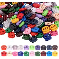PandaHall Elite 120 pcs 20 Colors Plastic Toggle Stoppers, Double Hole Spring Loaded Round Ball Shaped Stop Sliding Cord Fastener Locks Buttons for Backpacks Shoelace Replacement