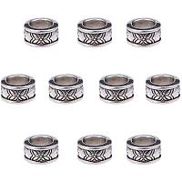 PandaHall Elite 100pcs Rondelle Spacer Beads Tibetan Alloy Antique Silver European Large Hole Spacers for Bracelet Necklace DIY Jewelry Making, 8mm, Hole: 5mm