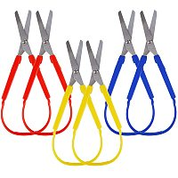 NBEADS 6 Pcs 3 Colors Mini Loop Scissors, Adaptive Design Self Opening Stainless Steel Scissors Easy Grip Scissors for Teens and Students