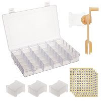 Gorgecraft Jewelry Tools, with 100PCS Plastic Embroidery Thread Card Bobbins and 1PC String Winder, Plastic Clear Beads Storage Containers and Paper Stickers, Clear, Winder: 92x26x39mm; Thread Card: 39x36x1mm, hole: 6mm
