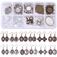 SUNNYCLUE DIY Earring Making, with Tibetan Style Alloy Cabochon Settings, Transparent Glass Cabochons and Brass Earring Hooks, Mixed Color, 30x26x2mm, Hole: 3mm; 72pcs/box