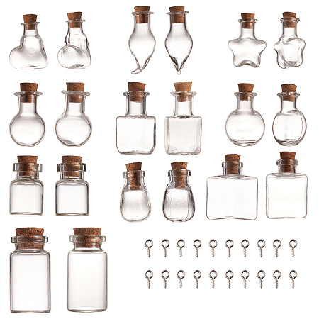 SUNNYCLUE Glass Bottles, with Cork Stopper and Iron Screw Eye Pin Peg Bails, Mixed Shapes, Clear, 20pcs/set