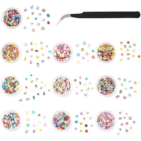 PandaHall Elite About 10000PCS 10 Styles 3D Polymer Slices, DIY Nail Art Slime Supplies Charms with Tweezers for Arts Crafts Cellphone Decoration