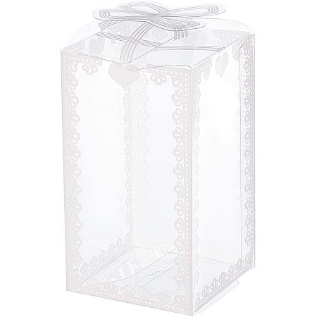 BENECREAT 28PCS 2.3x2.3x4 Inch Rectangle Bow Knot Pattern Clear Plastic Favor Boxes Gift Boxes for Wedding Birthday Party and Home Decoration