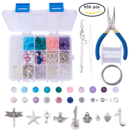 SUNNYCLUE 1 Set 650+ pcs Luxury Jewelry Making Kit Beaded Charm Bracelet Necklace DIY Craft Kits for Kids Teen, Girls Adults Children, Mixed Color