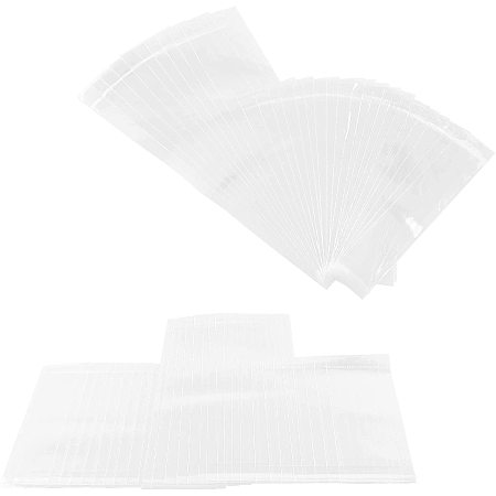 PandaHall Elite 300pcs 3 Sizes Transparent Resealable Bags Long Hanging Cellophane Bags for Candle Card Lollipops Display Packaging Jewelry Storage, 2.76mil(0.07mm)