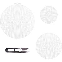 Pandahall Elite Canvas Mesh Sheets Kit, 44pcs 3 Sizes Cross Stitch Plastic Canvas Sheets Needlepoint Blank Canvas and Scissors for Needlework Embroidery Yarn Crafting Crochet Knitting Decoration