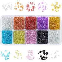 OLYCRAFT Glass Seed Beads, Dyed, Transparent Colours, For Nail Art Decoration, No Hole/Undrilled, Chip, Mixed Color, 2~5x2~3x2~3mm; 25g
