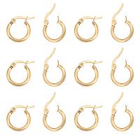 Unicraftale 304 Stainless Steel Huggie Hoop Earrings, Hypoallergenic Earrings, Ring, Golden, 12 Gauge, 14x2mm, Pin: 1x0.7mm, 20pair/box