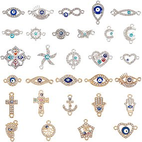 NBEADS 60 Pcs Alloy Links Connectors, 29 Styles Silver Plated Colorful Evil Eye Charms Jewelry Connector Findings with Crystal Rhinestone and Enamel for DIY Crafts Making