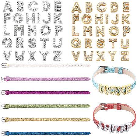 NBEADS 60 Pcs Bracelets Making Kits, 8 Pcs PU Leather Watch Band Strap and 52 Pcs Alloy Rhinestone Slide Charms for Bracelets Making