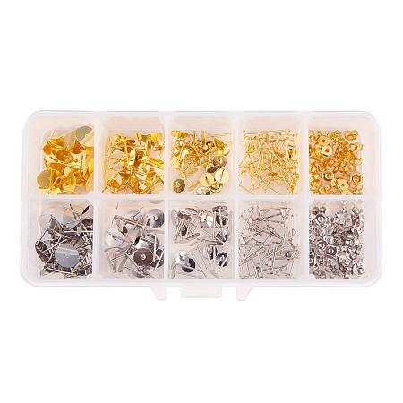 ARRICRAFT Elite 260 pcs 4 Sizes 2 Colors Brass Earrings Posts Stud Blank Earring Pin Backs Flat Pad with 100 pcs Earring Backs for Earring DIY Jewelry Craft Making, Golden/Silver