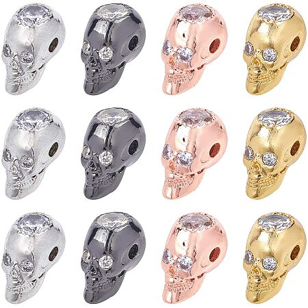 NBEADS 12 Pcs 4 Colors Skull Beads Cubic Zirconia Skull Spacer Beads Micro Pave CZ Crystal Skull Skeleton Beads for Bracelet Necklace Jewelry Making,14x8x9.5mm