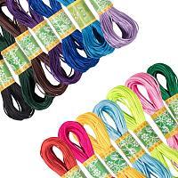 PandaHall Elite 300 Yards Satin Nylon Trim Cord 1.5mm Rattail Silk Cord String for Macrame Necklace Bracelet Beading Cord Jewelry Making, 15 Colors