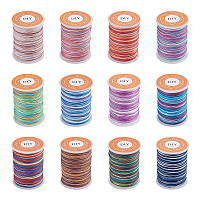Segment Dyed Polyester Thread, Braided Cord, Mixed Color, 0.3mm; about 15m/roll, 12 colors, 1roll/color, 12rolls/set