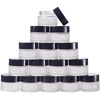 BENECREAT 15 Packs 15G Frosted Glass Cosmetic Cream Jars with Inner Liners and Black Lids for Eye Cream Scrubs and Other Beauty Product