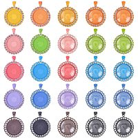 NBEADS 10 Colors 20 Pcs Alloy Crystal Rhinestone Pendant Trays with 20 Pcs Transparent Glass Cabochons for DIY Pendant Makings