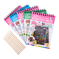 NBEADS 5 Sets Scratch Paper Art Kit, 50 Sheets Rainbow Scratch Paper + 3 Pcs Bamboo Stylus – Create Colorful Rainbow Cards, Bookmarks, Notes, Pictures & Other Art Without Ink