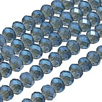 NBEADS 1 Strand Blue Faceted Abacus Electroplate Glass Bead Strands for Jewelry Making With 8x5mm,Hole: 1mm,About 72pcs/strand