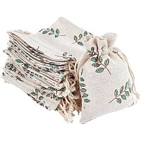 Polycotton(Polyester Cotton) Packing Pouches Drawstring Bags, with Printed Leaf, Wheat, 14x10cm