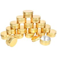 PH PandaHall 20Pack 80ml Metal Jars with Lids 2.7oz Golden Makeup Empty Containers Tin Empty Aluminum Tins Slip Slide Containers Jar Cans Bottle for Cosmetics Lotion Cream Travel Use