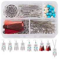 "SUNNYCLUE Bohemian Feather Dream Catcher Pendant Necklace & Drop Dangle Earrings Making Kit Include Earring Hooks, 30"" Long Chain Necklace - DIY Make 2 Strands Necklace + 4 Pairs Earrings"