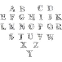 NBEADS 104 Pcs Alphabet Slide Charms, A-Z Letter Rhinestone Beads for Glass Living Memory Locket Jewelry Making Findings