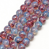 Nbeads Baking Painted Glass Beads Strands, Imitation Opalite, Round, Lavender, 6mm, Hole: 1.3~1.6mm; about 133pcs/strand, 31.4""