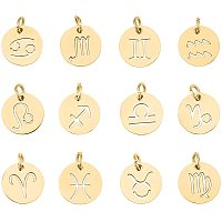 Unicraftale 304 Stainless Steel Pendants, Flat Round with Constellation/Zodiac Sign, Golden, 12x1mm, Hole: 3mm; 12pcs/set