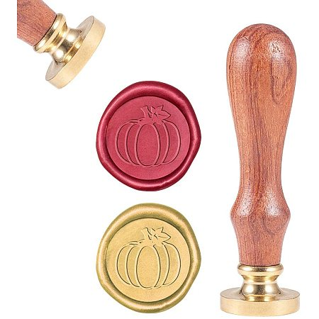 CRASPIRE Wax Seal Stamp, Wax Sealing Stamps Pumpkin Vintage Wax Seal Stamp Retro Wood Stamp Removable Brass Seal Wood Handle for Wedding Invitations Embellishment Bottle Decoration Gift Packing