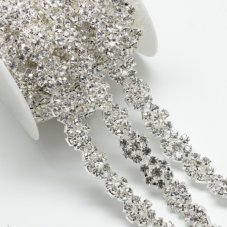 Wedding Dress Decorative Brass Rhinestone Chains, with Spool, Rhinestone Cup Chain, Flower, Silver Color Plated, Crystal, 17x6.5mm; about 5yards/roll