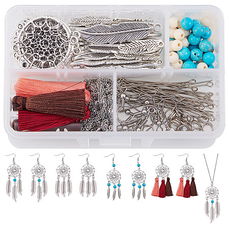 SUNNYCLUE Bohemian Feather Dream Catcher Pendant Necklace & Drop Dangle Earrings Making Kit Include Earring Hooks, 30
