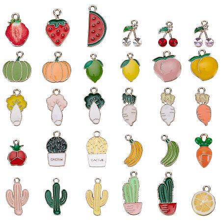 BENECREAT Alloy Enamel Pendants, Light Gold, Fruits and Vegetables, Mixed Color, 60pcs/box