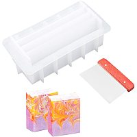 """PandaHall Elite 8"""" Soap Molds with Silicone Loaf Soap Mold Dividers and Straight Planer Blade for DIY Handmade Swirl Soap Making"""