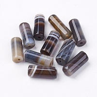 Nbeads Natural Striped Agate/Banded Agate Beads, Dyed, Column, CoconutBrown, 20x8mm, Hole: 1.5mm