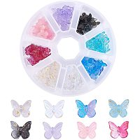 PandaHall Elite 160Pcs Transparent Spray Painted Glass Crystal Pendants Butterfly with Glitter Powder Glass Charms for Craft Supplies DIY Crafts Accessories