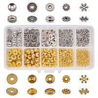 SUNNYCLUE Tibetan Style Alloy Spacer Beads, Mixed Shapes, with Bead Container, Antique Silver & Golden, 13x5x1.5cm; about 360pcs/box