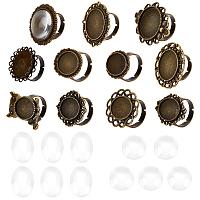 SUNNYCLUE DIY Finger Ring Making Kits, with Transparent Glass Cabochons, Vintage Adjustable Iron & Brass Finger Ring Components Alloy Cabochon Bezel Setting, Antique Bronze, Size: 7, Inner Diameter: 17mm, 11pcs/set
