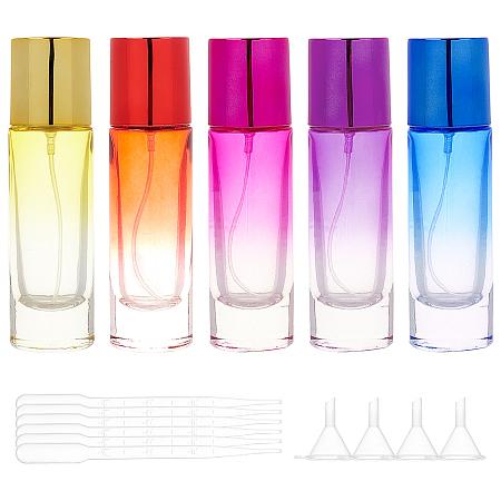 Glass Spray Bottles, with Aluminium Oxide Dust Cap, Perfume Bottle, with Plastic Dropper, Plastic Funnel Hopper, Mixed Color, 11.8x3.3cm; Capacity: 30ml(1.01 fl. oz),  5pcs